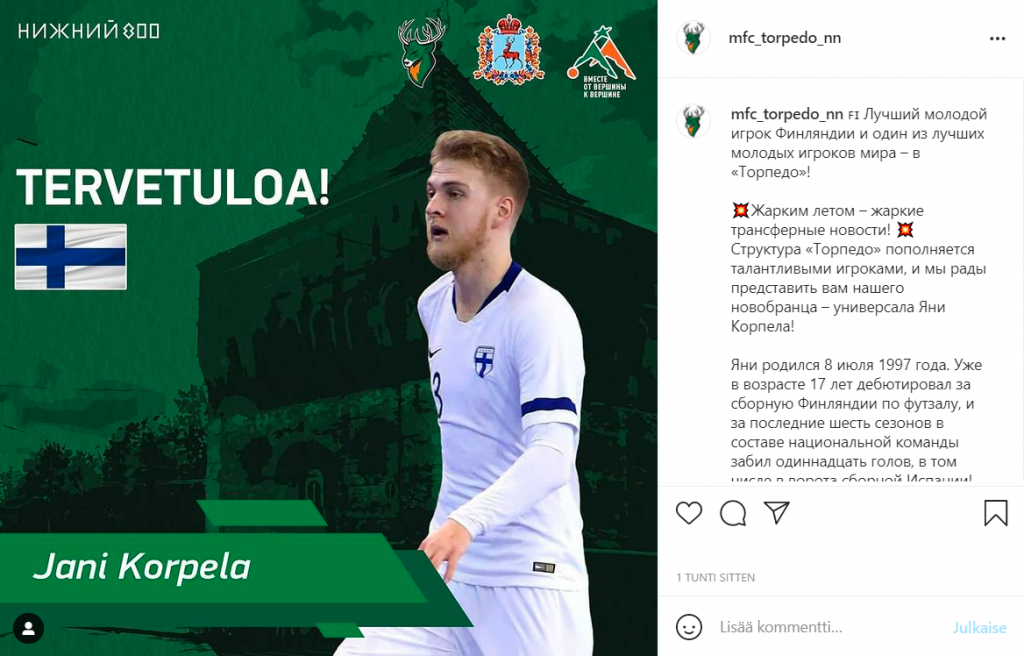 Jani Korpela siirtyy Venäjän Superliigaan